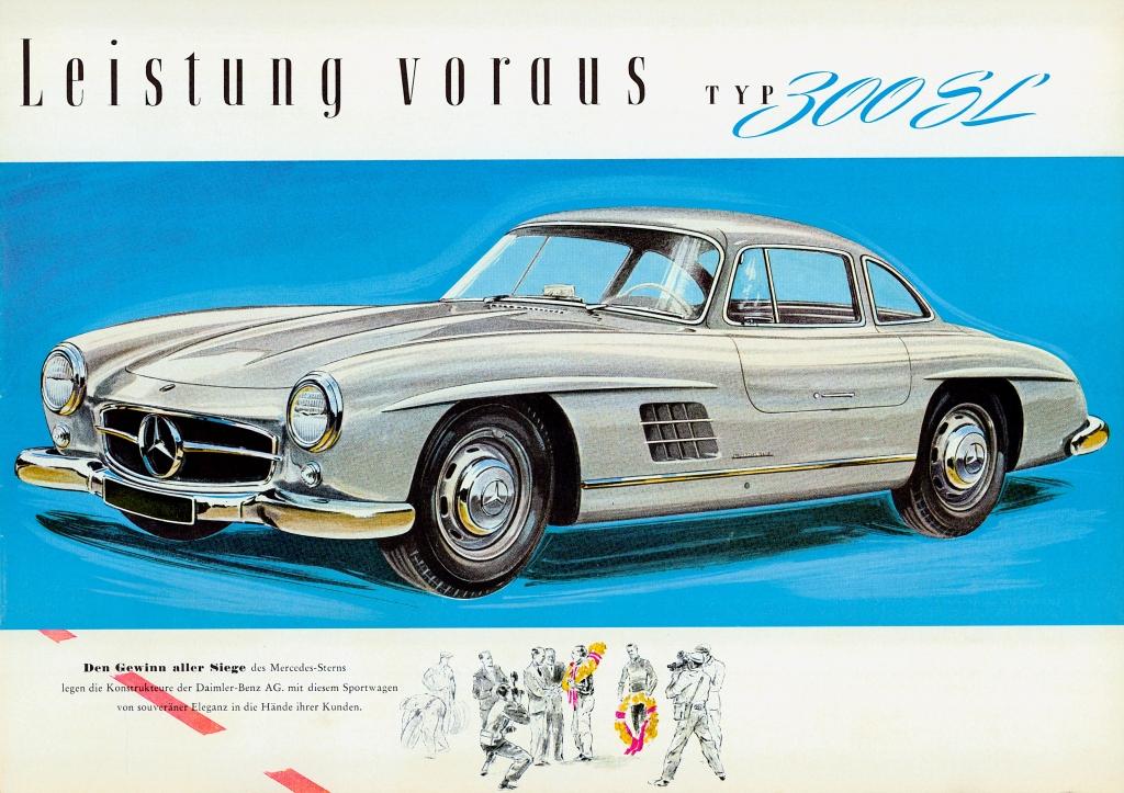 Mercedes-Benz Typ 300 SL (W 198 I, 1954 bis 1957). Zeichnung aus einem Prospekt von 1955.