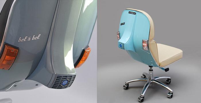 Oude vespa's worden prachtige stoelen 3